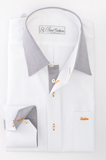 Bovelino tailored shirt, White and Grey