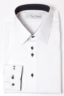 Bovelino Tailored shirt, White - Contrast: Black