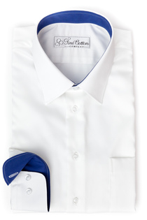 Bovelino Tailored shirt, White - Contrast Wessex, Bright Blue