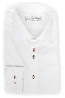 Bovelino Tailored Shirt, White with Brown Accent