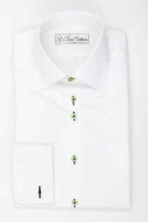Bovelino Tailored shirt, White, Contrast: Green