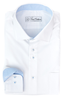 Bovelino Tailored Shirt, White with Cutaway Collar