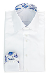 Bovelino Tailored Shirt, White - Contrast: Lord Paisley