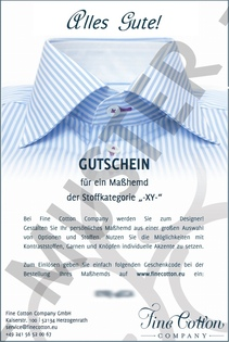 Gift Voucher for Tailor-Made Shirt 60 EUR